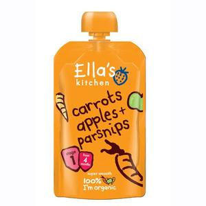 Ella's Kitchen Carrots Apples + Parsnips babymos, 4+ mdr. Ø - 12