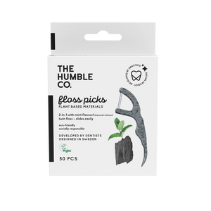 The Humble Co. Dental Floss Picks, charcoal - 50 stk.