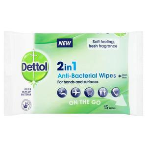 Dettol 2in1 Antibacterial Wipes - 15 stk.